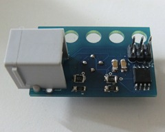 Front of sensor with ISP, ATtiny and NXT connector