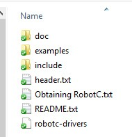 Directory Structure of ROBOTC Driver Suite